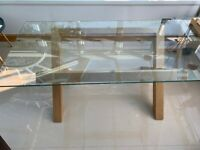 Oak Glass Dining table