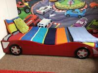 Children racing car bed with mattress