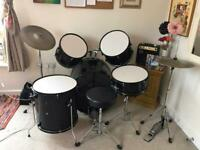 £180 ONO Adult 5 drum set, stool, high hat & symbol included