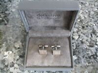 Definitive By Fred Bennett Sterling Silver And Diamond Cufflinks - In Presentation Gift Box