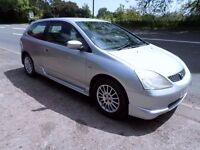 2003 HONDA CIVIC V-TEC HALF LEATHER AND SUEDE INTERIOR VERY CLEAN CAR MOT UNTIL MAY 2018