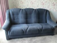 Three piece suite, settee and two chairs, dark blue, good condition.
