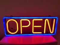 OPEN led sign with neon look. Very bright. Flashing option.Measures - 62cm long, 23cm high,5cm deep.