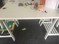 Large white adjustable trestle table