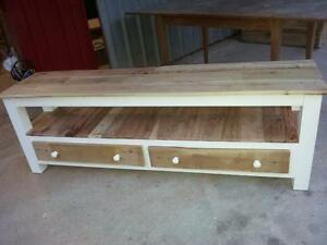Custom shabby chic pallet wood hand made tv, bench, hall table