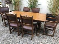 Beautiful Carved Oak Table And 6 Leather Chairs. Can deliver.