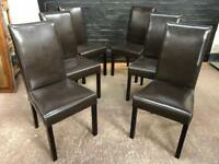 Six beautiful brown leather dining chairs in lovely clean condition