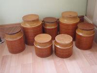 Hornsea Saffron Storage Jars 2 x lg 3 x med 2 x sm