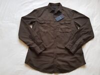 New Mens Armani Jeans Marrone Brown Double Pocket Casual Shirt Regular Fit Size: Small