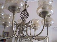 Antique brass 7 lamp ceiling light incl glass shades