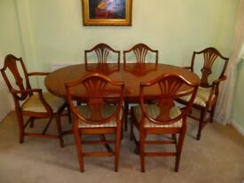 SOLID YEW DINING TABLE & 6 CHAIRS