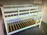 Next Sturdy White Bunk Beds (can be split into 2 Singles) with mattresses