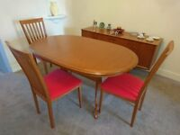 Dining Room Table, Three Chairs, and matching Coffee Table