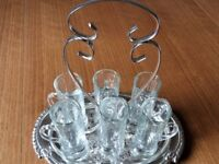 A Set of 6 Small Drinking Glasses with Handles, set on a Silver Tray (NEW) Unwanted Gift