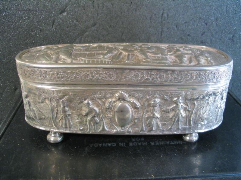 .833 Silver DUTCH HINGED BOX 1892 Late 19th Century 216 grams
