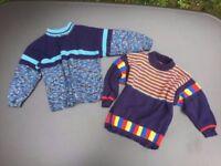 2 Children's handmade woollen jumpers