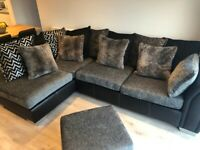 3 seater corner sofa including footstool (LIKE NEW)