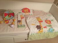 Matching set... Cot coverlet, bumper, musical mobile and canvas set from Next
