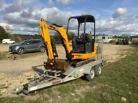 JCB 8014CTS Mini Digger and trailer