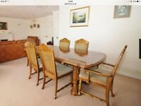 Dining room furniture, table, six chairs. (2 are carvers) and display unit