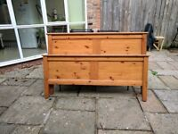 Solid pine matching double bed frame and bedside table