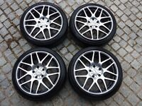 Calibre Exile 18″ Black / Polished Alloy Wheels with Tyres to fit VW T5/T6