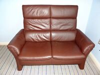 Brown Leather Himolia 2 Seater Sofa