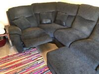 LA-Z BOY GREY RECLINER FABRIC CORNER SOFA & FOOTSTOOL - MUST GO ASAP - CHEAP DELIVERY - £695