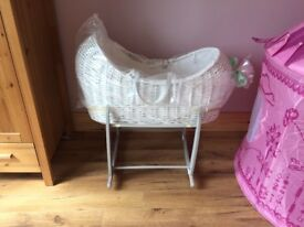 Baby girls baby stuff including Mosses basket