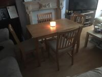 Beech dining table & chairs - ideal if space is limited