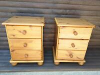 Solid Wood (Pine) 3 Drawer Bedside Unit x 2, used.