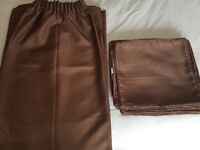 3 pairs chocolate brown curtains & 8 matching cushion covers