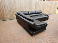 Black leather csl corner sofa and arm chair