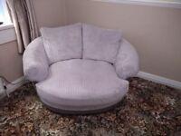 Harvey's grey cord cuddle chair