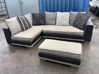 Dfs black and grey corner sofa with large footstool