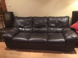 Dark Brown 3 seater leather sofa and armchair- SOLD