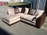 Brown and Mocha Fabric and Leather Corner Sofa - Brand New - £250 Including Free Local Delivery