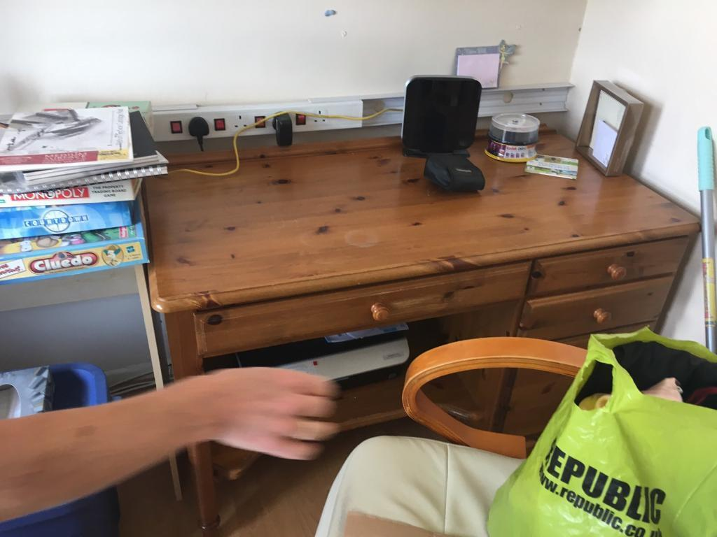 Computer desk with leather chair and side printer desk all in good conditionin Llanishen, CardiffGumtree - Computer desk with leather chair and side printer desk all in good condition