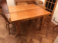 Beautiful rustic reclaimed antique solid pine 4ft square dining table