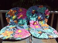 Two reversible floral chair seat pads for garden or conservatory