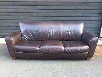 3 seater brown real leather Natuzzi sofa