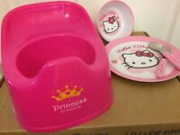 Hello Kitty Bowl, Plate, Fork and Spoon.... With free Princess in Training Potty