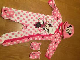 Disney Minnie Mouse 6m babygro with mittens and hat