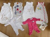 7 Baby girl sleeping bags, walk in sleepers and Swaddle me set, 0-6 months