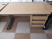 Pedestal Office Desk, Light Wood Effect, Locking Drawers