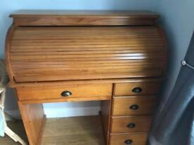 Pine roll top desk