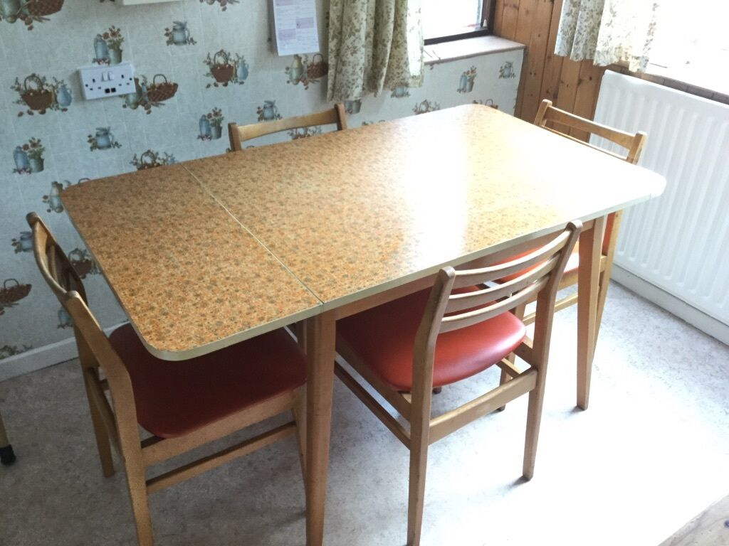 Vintage kitchen table with 4 chairs formica table top orange finish in salford manchester - Formica top kitchen table ...