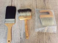 3 specialist paint brushes. never been used. horse hair - 'Handover' london