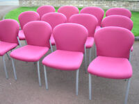 Rose pink soft sturdy stackable chairs