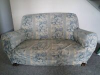 1930s red leatherette/horsehair 2-seater settee